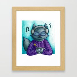 Hot drinks and cool tunes Framed Art Print