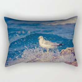 Seagull Undisturbed by Wave on Rocks at Lake Michigan Shoreline near Holland MI Rectangular Pillow