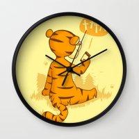 tigger Wall Clocks featuring Ta Ta For Now by Skylar Hogan