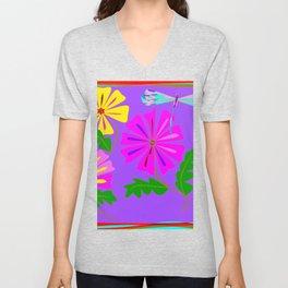 Lavender background of a Floral Design with Dragonfly Unisex V-Neck