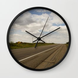 Empty Highway Wall Clock