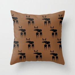 Brown Moose Pattern Throw Pillow