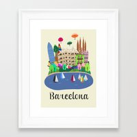 barcelona Framed Art Prints featuring Barcelona  by uzualsunday