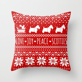 Scottish Terriers Christmas Holiday Pattern Throw Pillow