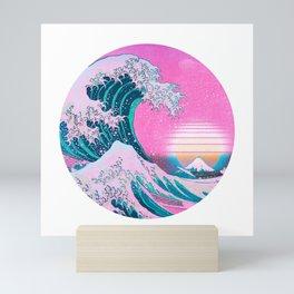 Vaporwave Great Wave Off Kanagawa Aesthetic Retro Sun Mini Art Print