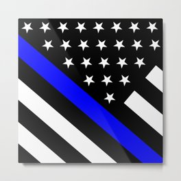 Police Flag: The Thin Blue Line Metal Print