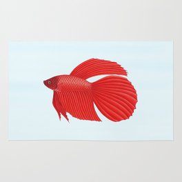 betta splendens red male Rug