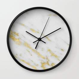 Marble - Shimmery Gold Marble on White Pattern Wall Clock