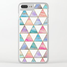 Marble Triangles Pattern Clear iPhone Case