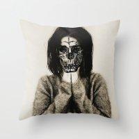 bjork Throw Pillows featuring Bjork skull by Sincere