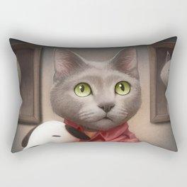 A cat holding a stuffed dog Rectangular Pillow