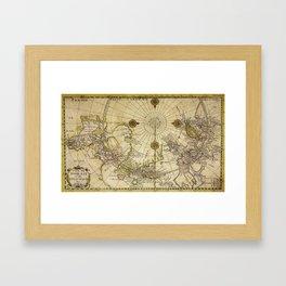 Map Of North Pole 1800 Framed Art Print