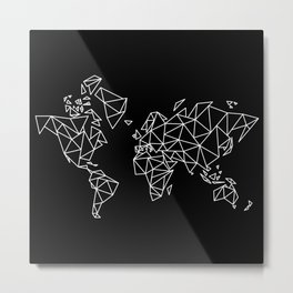 White on Black Geometric Low Poly Map of The World / Polygon geometry Metal Print