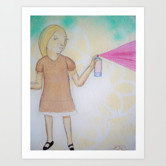 Spray Paint Girl Art Print