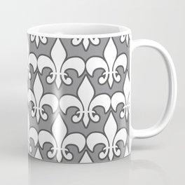 Fleur de lis...white on gray Coffee Mug