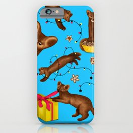 Sables' Christmas Mischief Pattern (Blue Background) iPhone Case