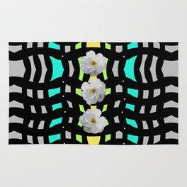 Three White Roses on Pattern Rug