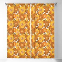 Pushing daisies Orange and brown Blackout Curtain