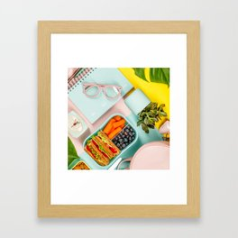 Healthy lunch, notebook, plant Framed Art Print