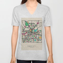 Colorful City Maps: Kansas City, Missouri Unisex V-Neck