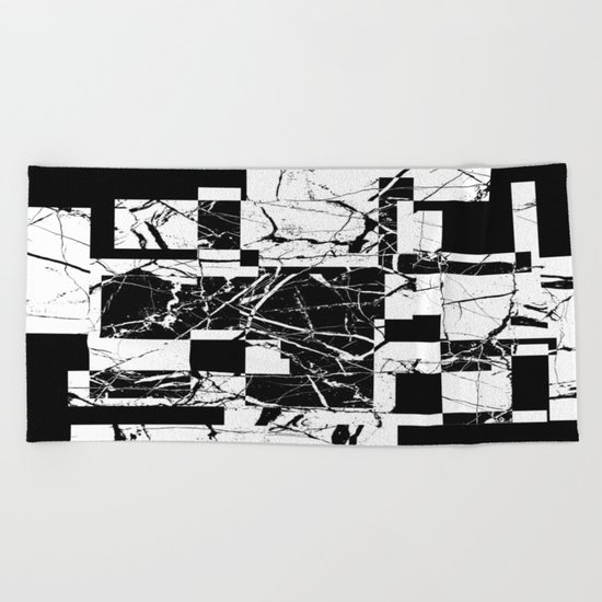 Manipulated Marble - Black and white, abstract, geometric, marble style art Beach Towel