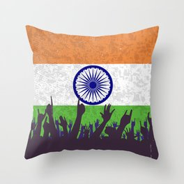 India Flag with Audience Throw Pillow