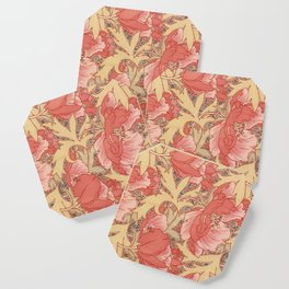 William Morris Poppies Floral Art Nouveau Pattern Coaster