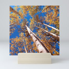 Aspen Trees Against The Sky In Crested Butte, Colorado Mini Art Print