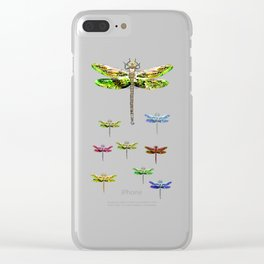 Dragonfly illustrated flying insect Clear iPhone Case