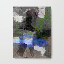 Abstract Canvas Painting Digital Art- Blue Vintage Car Metal Print