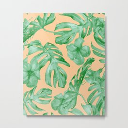 Tropical Monstera Hibiscus Botanical Pattern Green Coral Peach Metal Print
