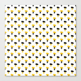 Yellow and Black Thunderclouds Pattern Canvas Print
