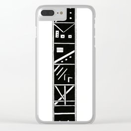Black and White Blocks Clear iPhone Case