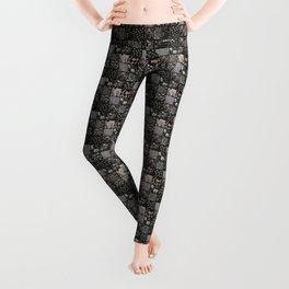 Faux Patchwork Quilting - Black Leggings