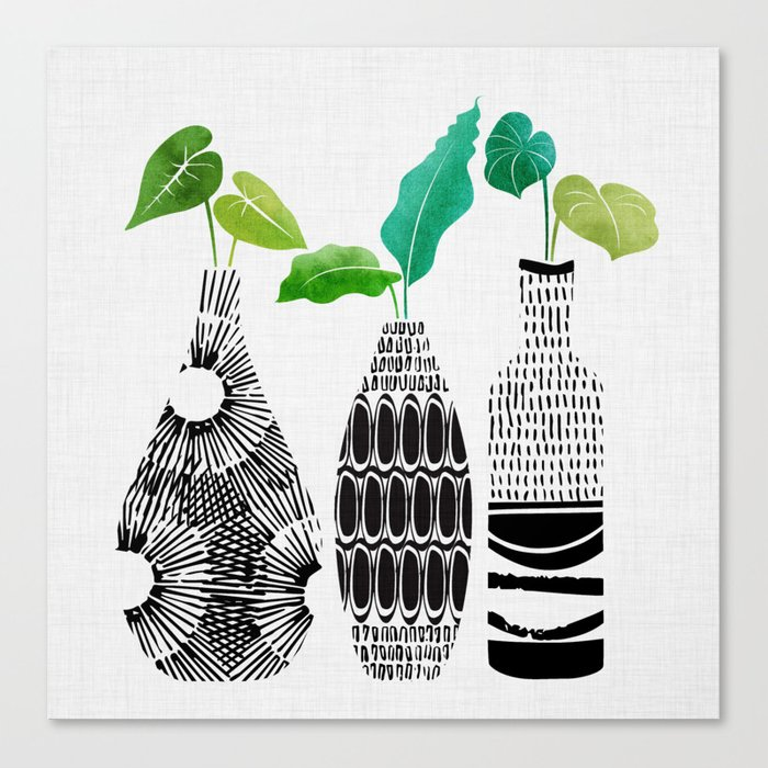 Black and White Tribal Vases Canvas Print