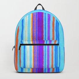 Retro Primitive Grunge Stripe Blue Backpack