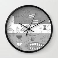 mid century modern Wall Clocks featuring Mid-Century Modern Fish by Kippygirl