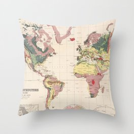 Vintage Geological Map of The World (1856) Throw Pillow
