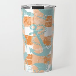 Distressed Nautical Pattern Painted Stripes Sailboats Anchors and Sea Life in Orange Aqua Turquoise Travel Mug