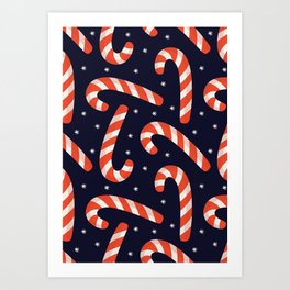 Christmas Candy Canes on Black Art Print