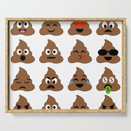 piles of poop in different moods Serving Tray