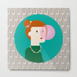 The girl and the bubble gum Metal Print