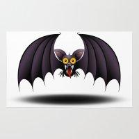 cartoon Area & Throw Rugs featuring Bat Cartoon by BluedarkArt