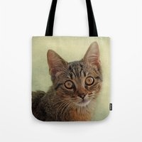 kitten Tote Bags featuring kitten by lucyliu