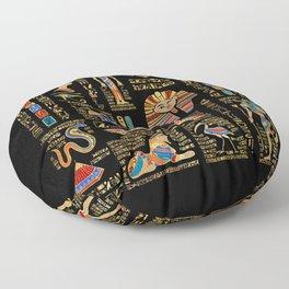 Egyptian hieroglyphs and deities on black Floor Pillow