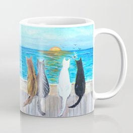 Cat Beach Sunset Coffee Mug