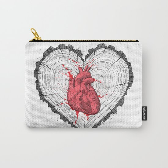 wooden heart Carry-All Pouch
