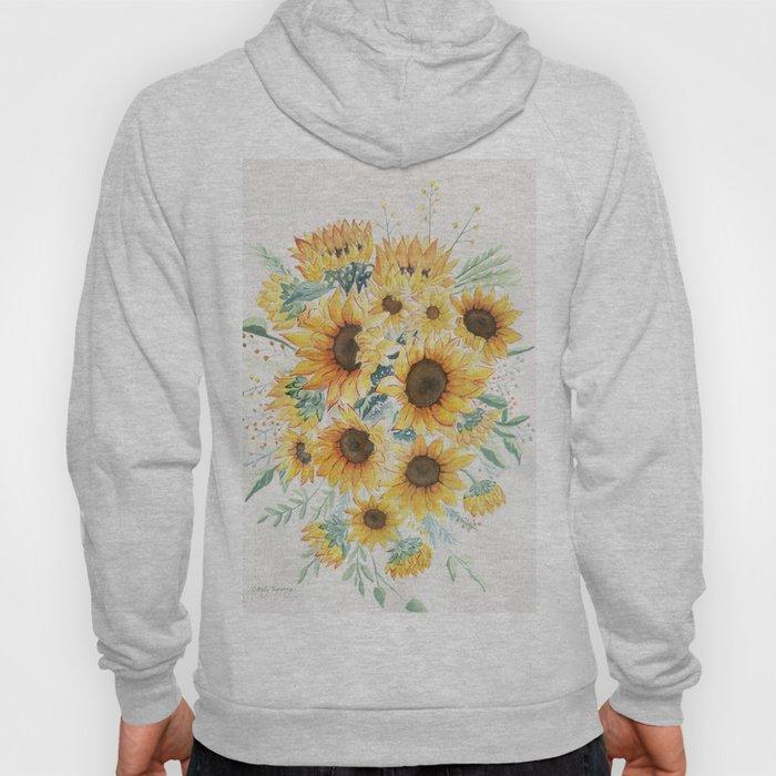 Loose Watercolor Sunflowers Hoody