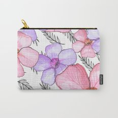 Watercolor Flowers with Banana Leaves Carry-All Pouch