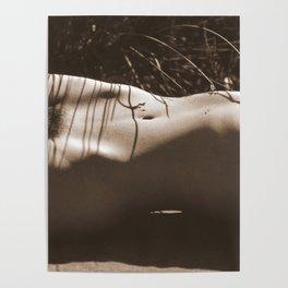 Nude Sunbathing Sepia Poster